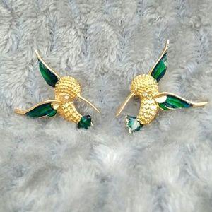 Vintage Hummingbird Beautiful Unique Stud Earrings
